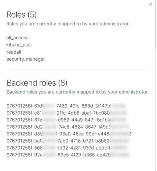 The roles for the logged in user present the assigned permissions, and associated backend roles.