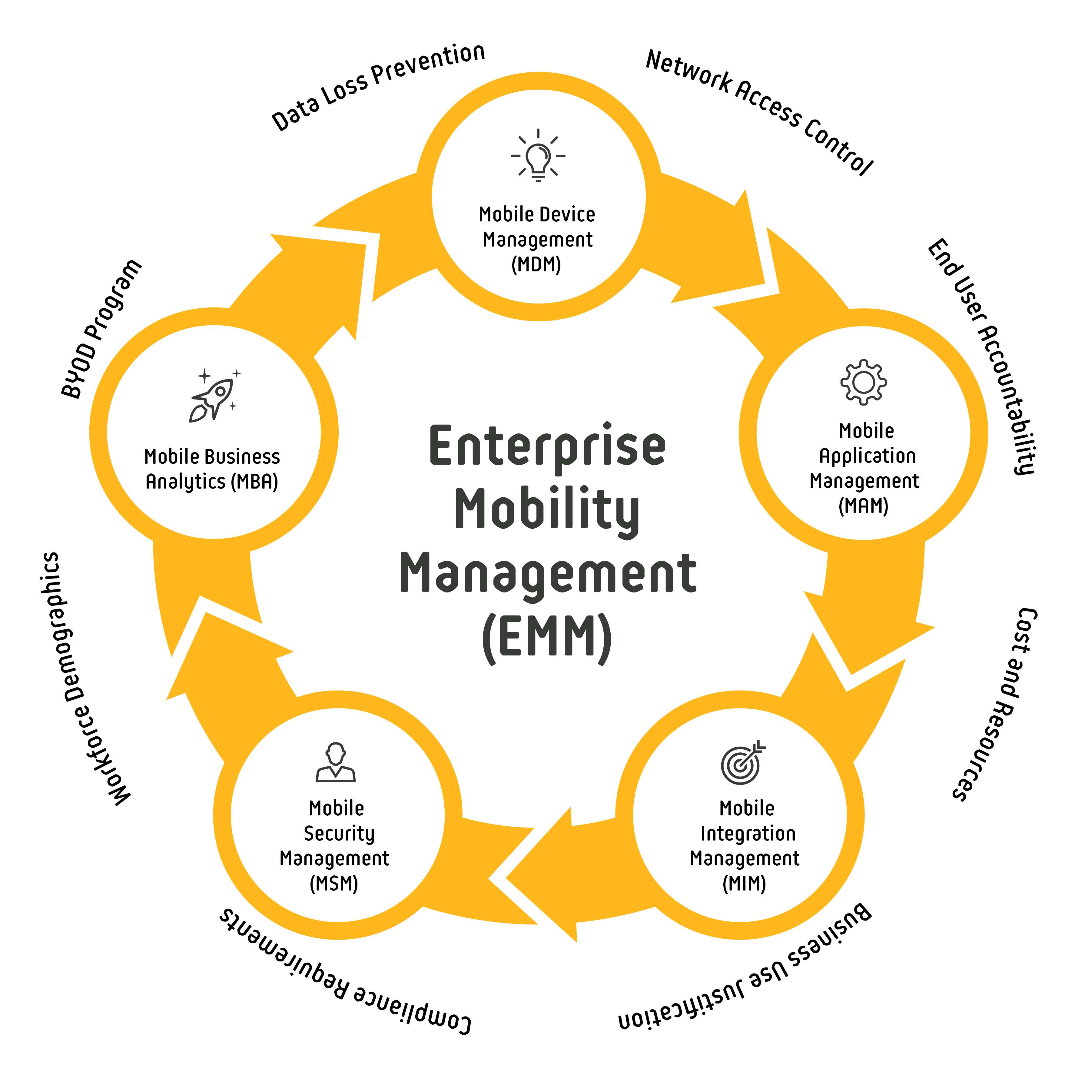 Diagram - The Enterprise Mobility Management (EMM) Sphere