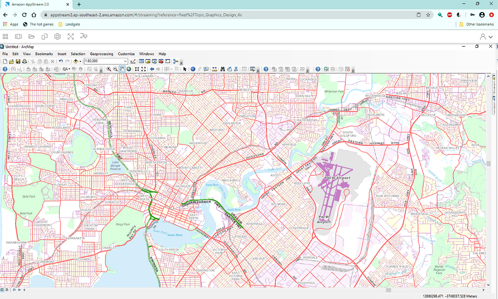 An example of a top-down view of a detailed street map of the Perth Metro area generated from within Amazon AppStream
