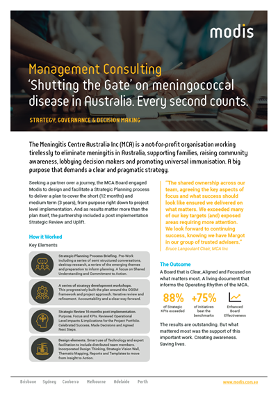 Modis Australia | Case Study | Management Consulting | Meningitis Centre Australia Inc