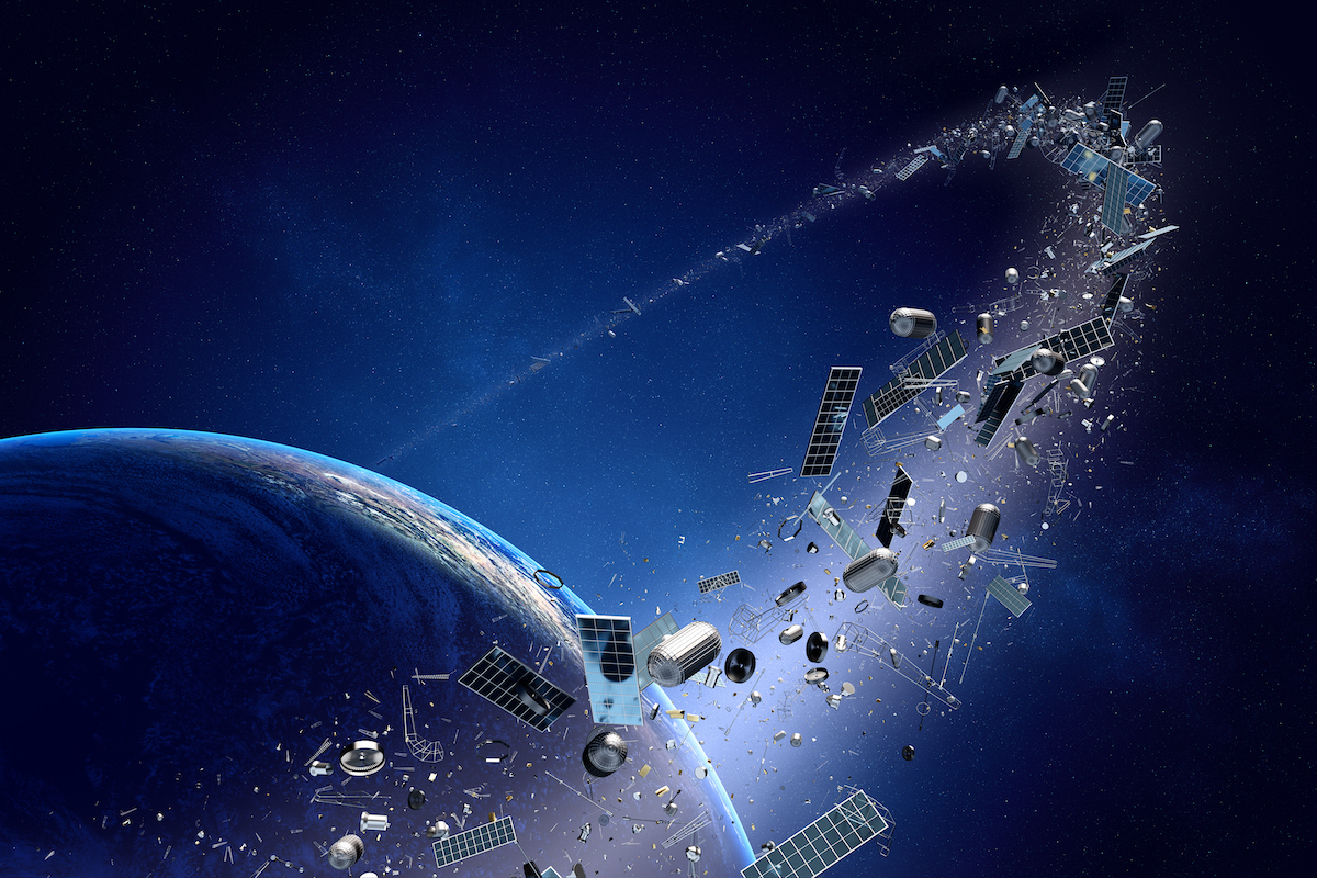 space equipment in orbit of a planet